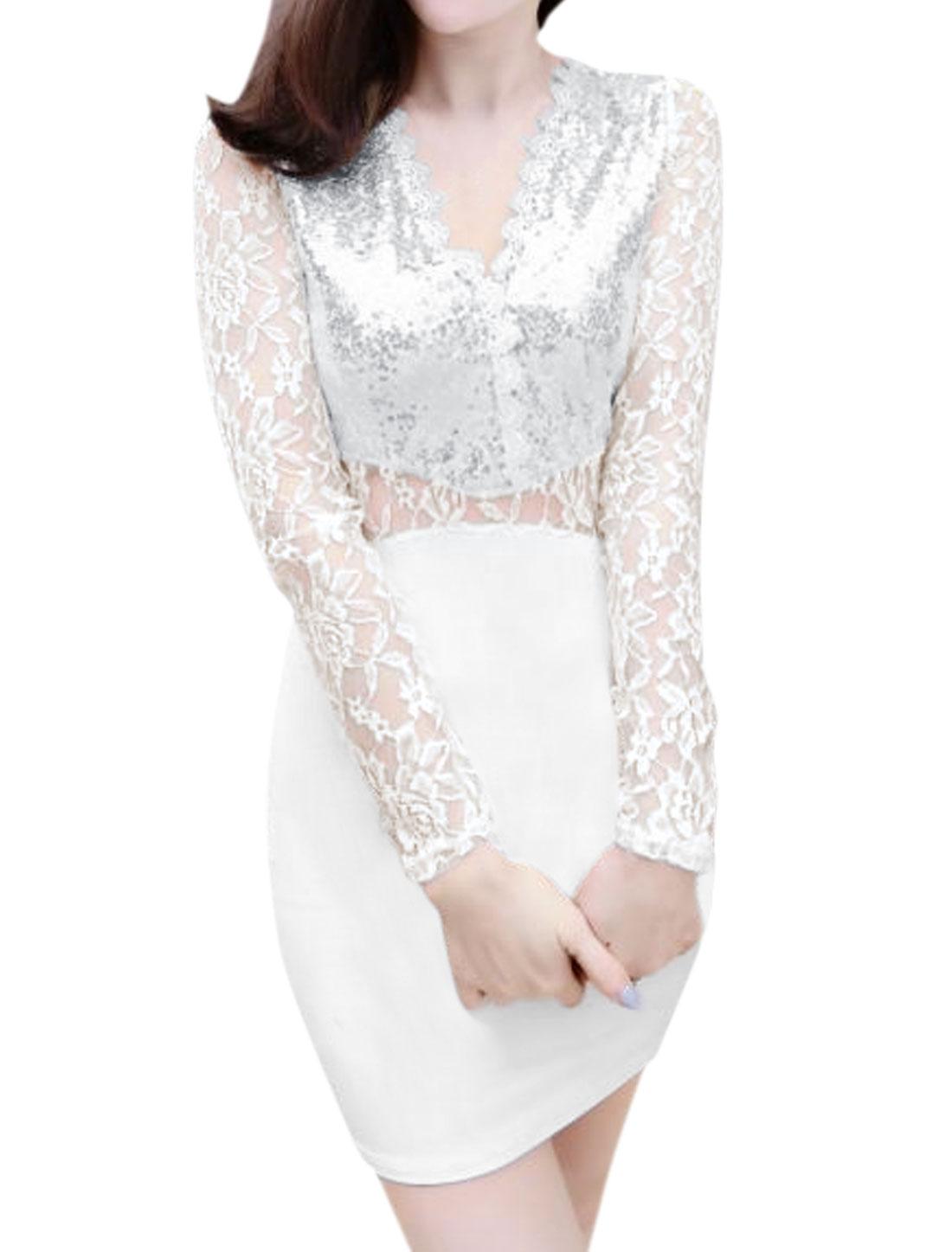 Women Lace Panel Semi Sheer Sequined Mini Bodycon Dress White XS