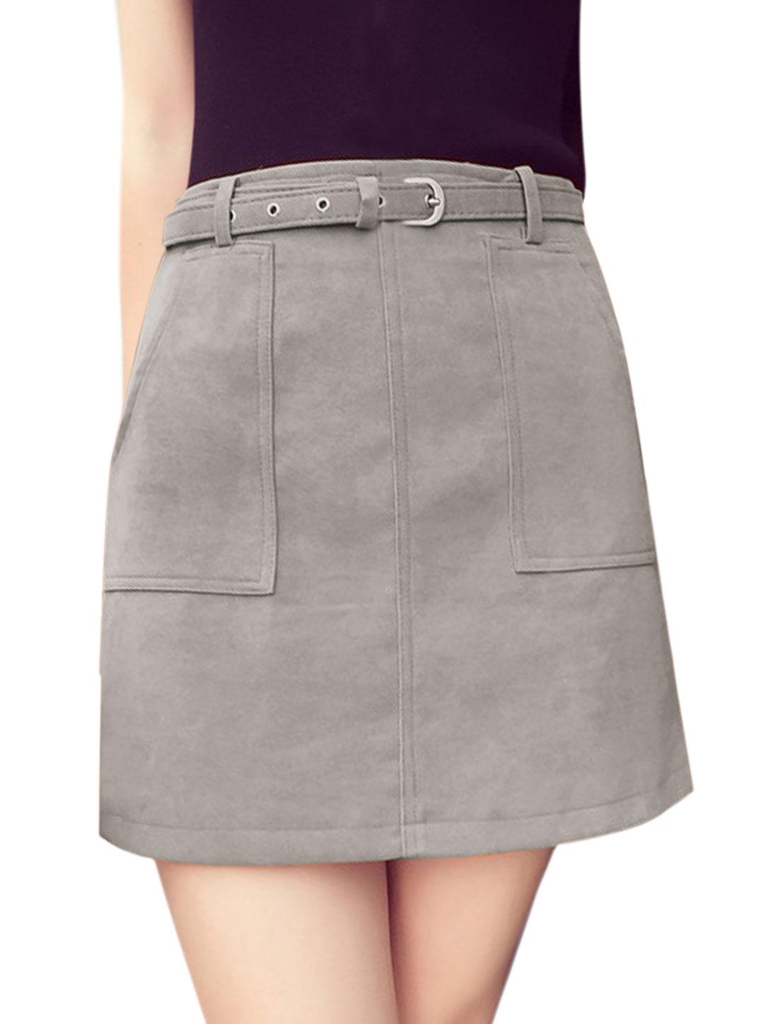 Women High Waist Two Front Pockets A Line Skirt w Belt Gray L