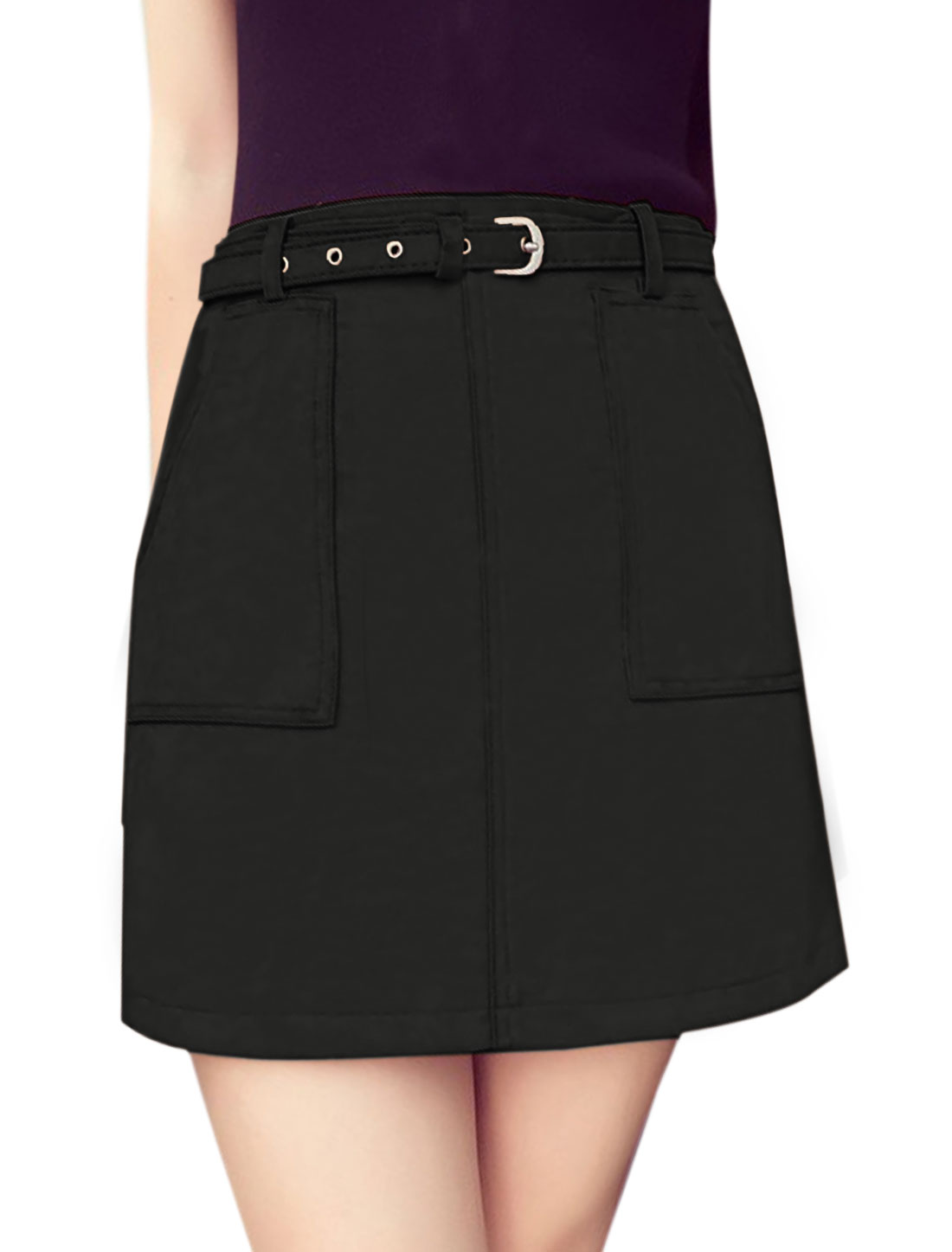 Women High Waist Two Front Pockets A Line Skirt w Belt Black L