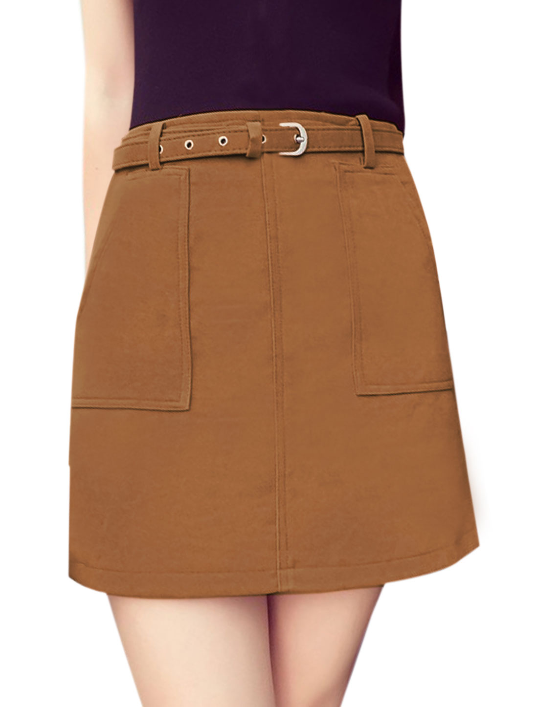 Women High Waist Two Front Pockets A Line Skirt w Belt Brown L