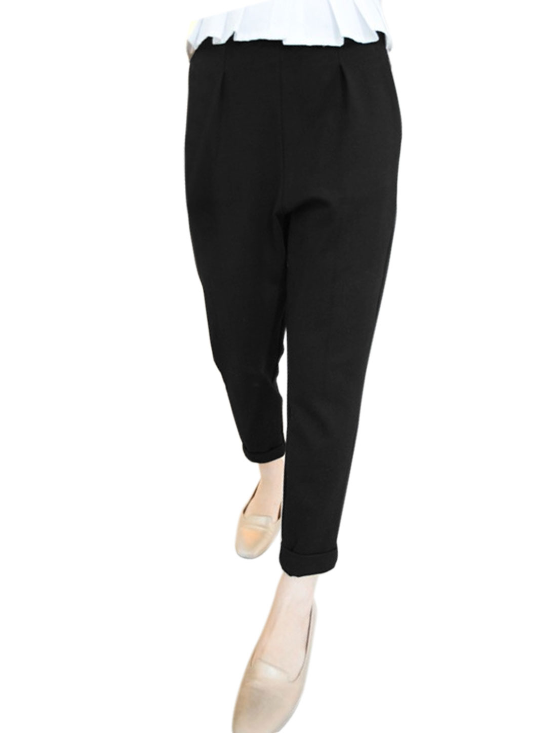 Women Hidden Zipper Side Rolled Cuffs Tapered Cropped Pants Black M