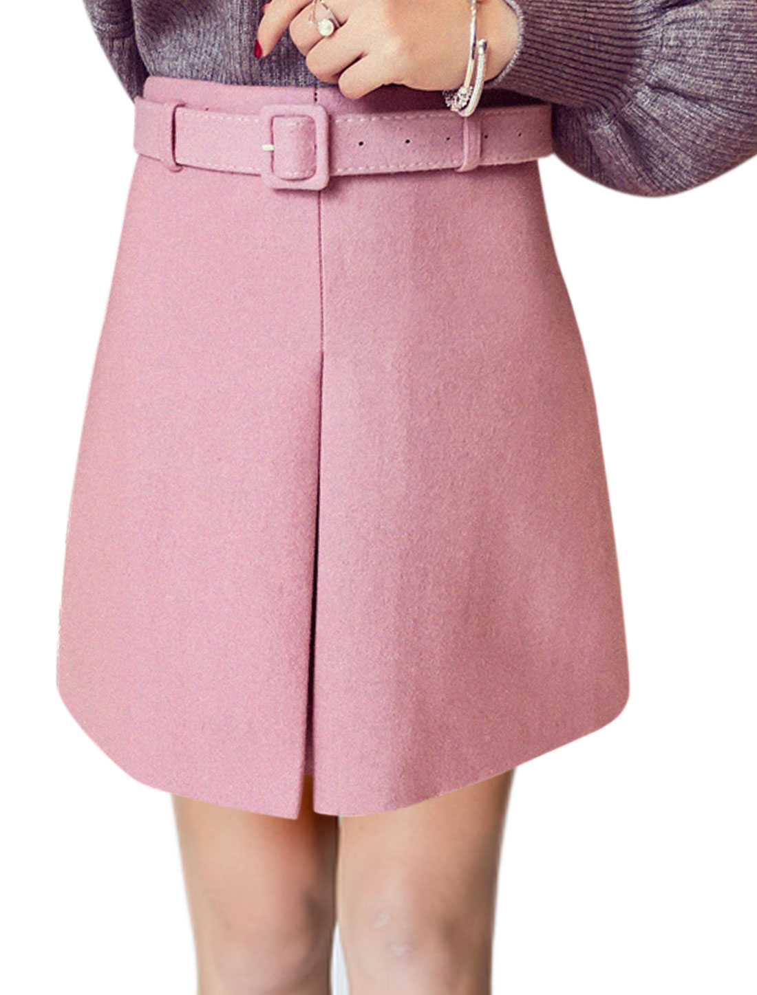Women High Rise Layered Front Mini Worsted A Line Skirt w Belt Pink L