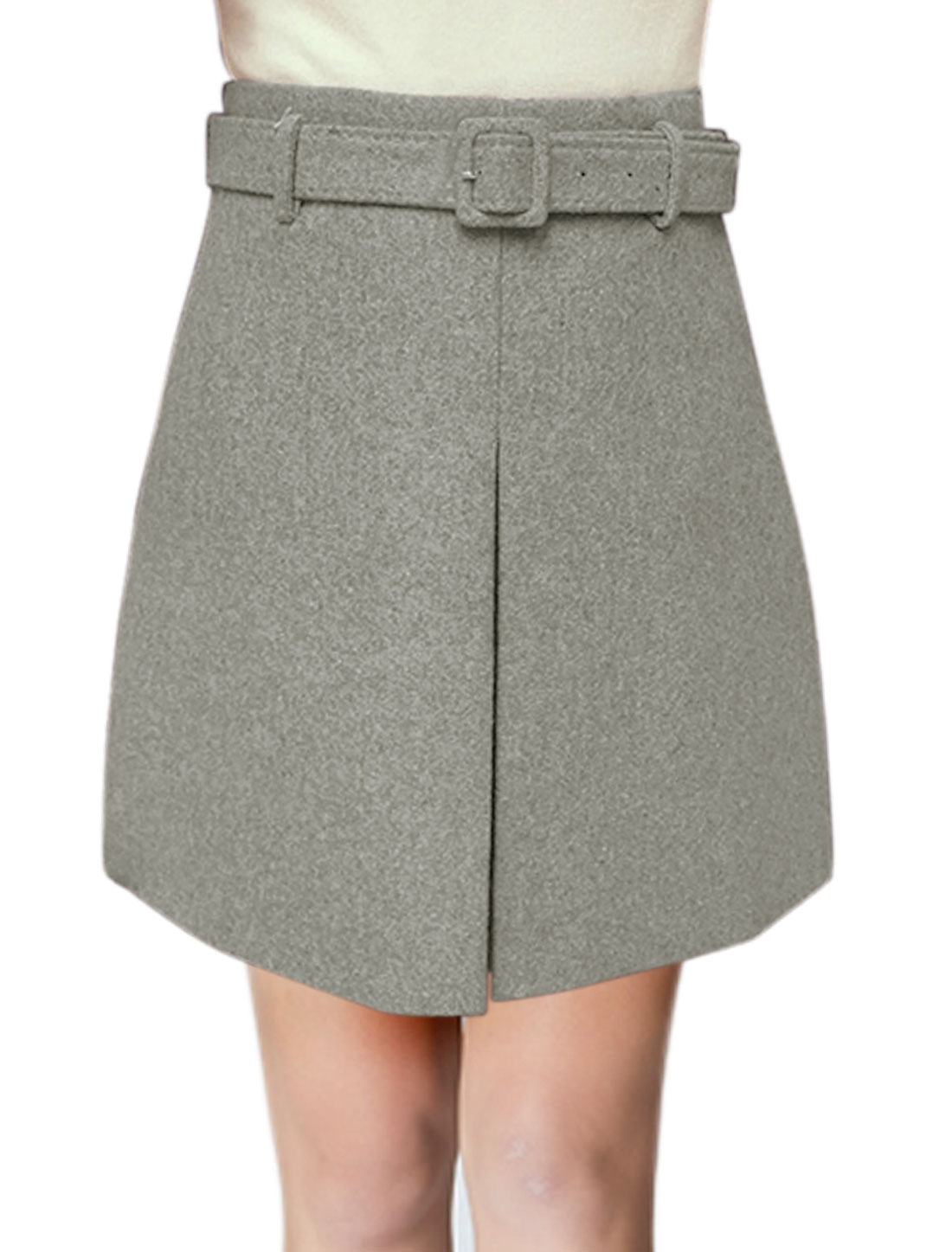 Women High Rise Layered Front Mini Worsted A Line Skirt w Belt Gray L