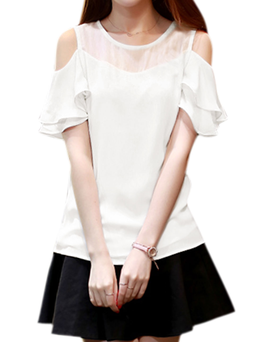 Women Open Shoulder Ruffled Layered Sleeves Semi Sheer Top White S