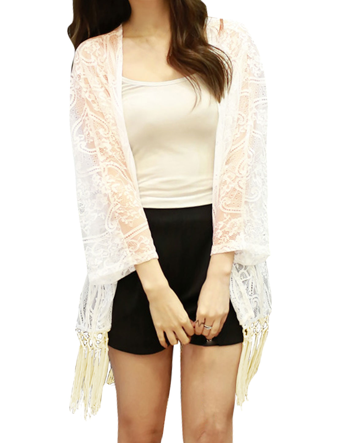 Women Open Front Batwing Sleeves Tassels Tunic Lace Cardigan White S