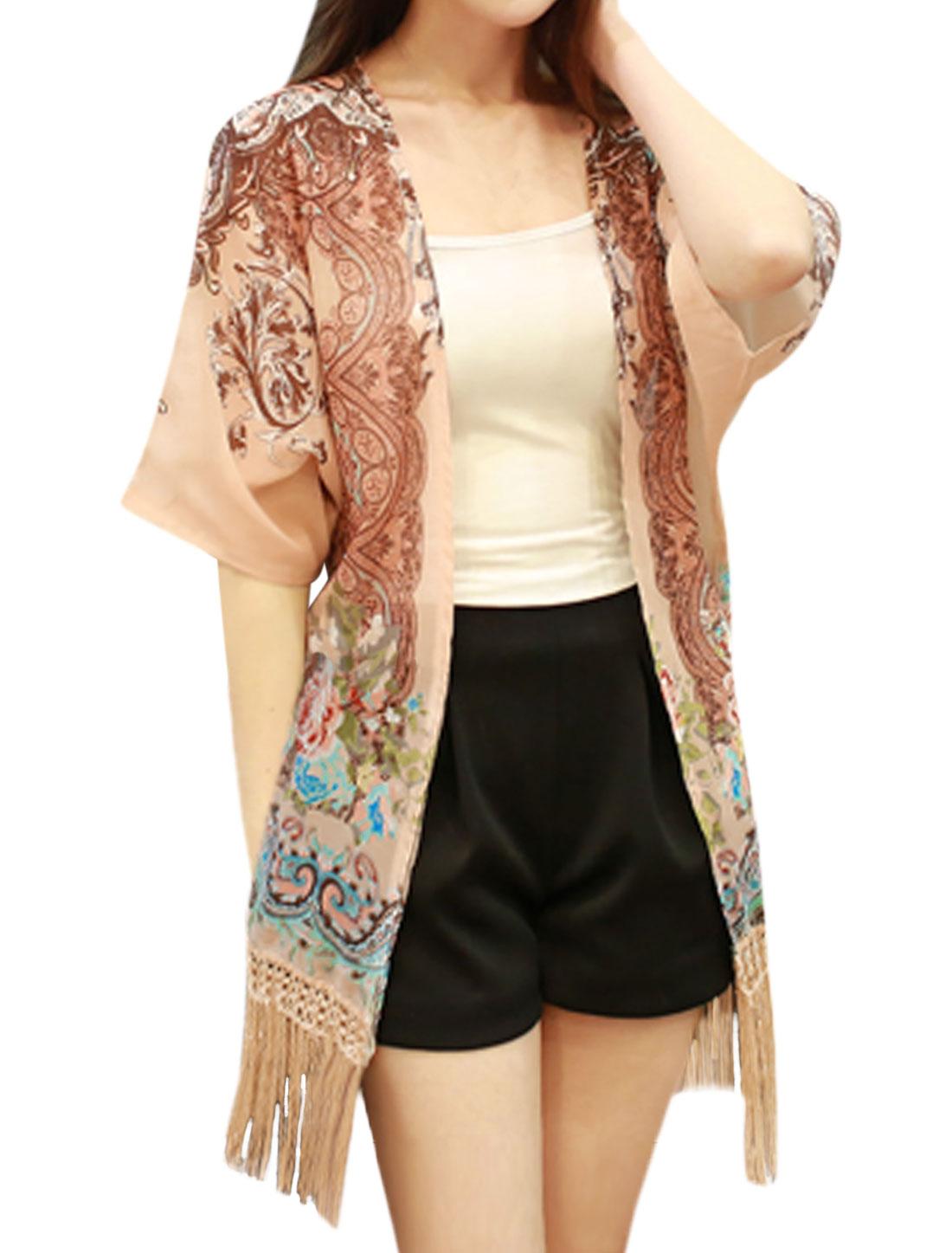 Women Open Front Floral Novelty Tassels Batwing Tunic Cardigan Beige S