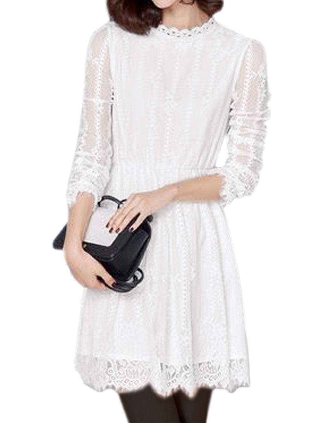 Women Scalloped Neck Elastic Waist Tunic Lace Top White M