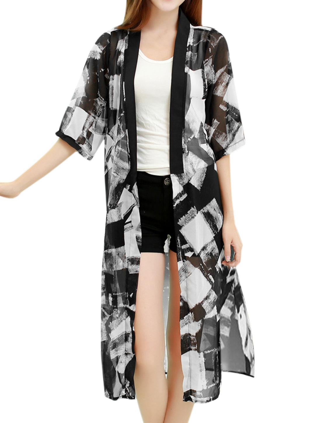 Women Open Front Geometric Print Split Sides Tunic Cardigan Black S