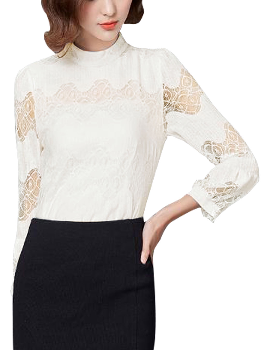 Women Stand Collar Semi Sheer Sleeves Lace Panel Blouse White M