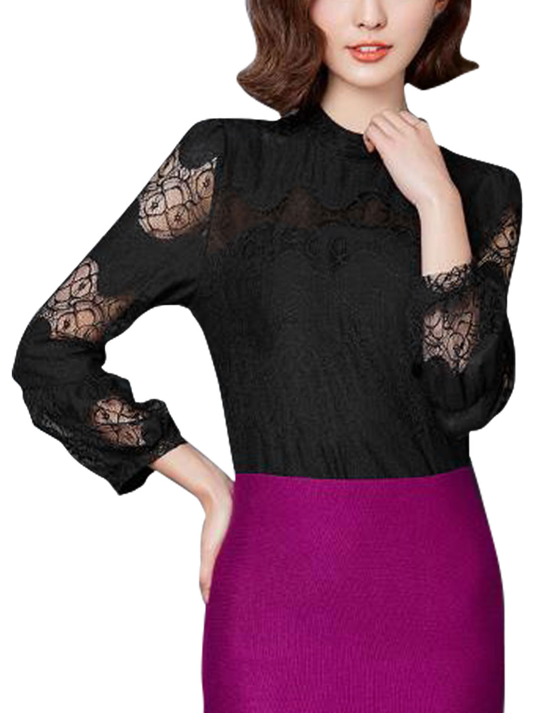 Women Stand Collar Semi Sheer Sleeves Lace Panel Blouse Black M