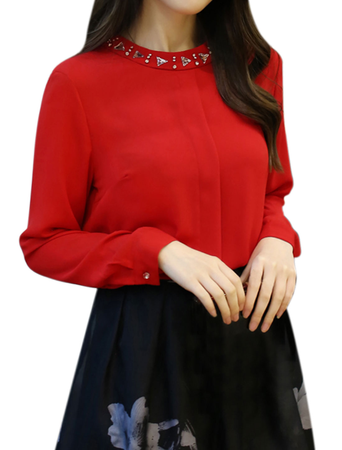 Women Long Sleeves Crew Neck Rhinestone Decor Casual Blouse Red L