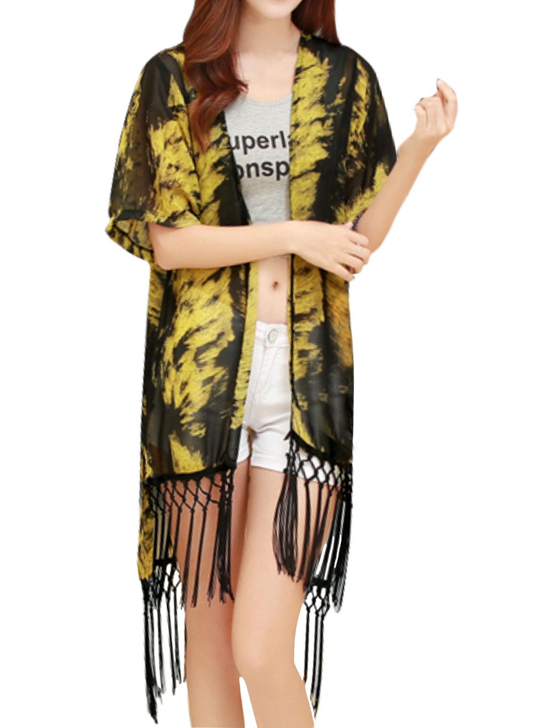 Women Front Opening Novelty High Low Tunic Fringe Cardigan Yellow S