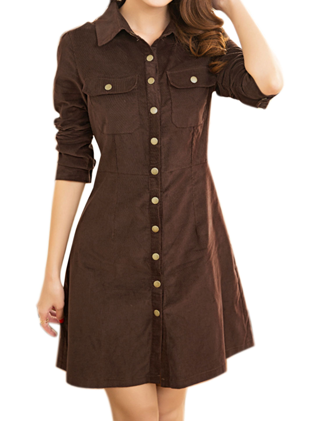 Women Snap Button Flap Pockets Slim Fit Corduroy Shirt Dress Brown M