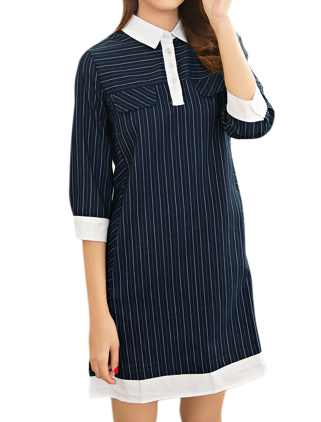 Women 3/4 Sleeves Half Placket Color Block Paneled Striped Shift Dress Blue M