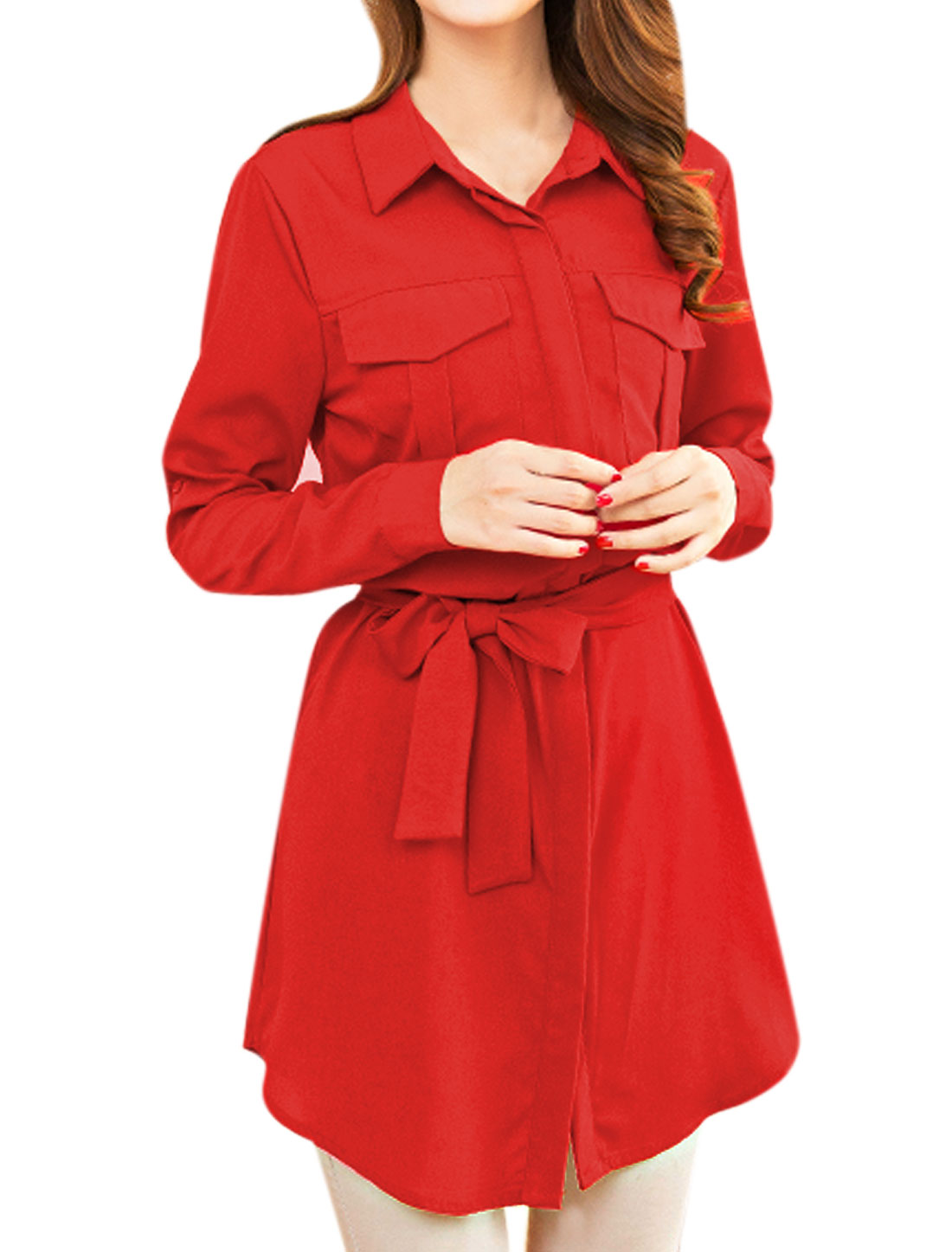 Woman Roll Up Sleeves Tunic Shirt Dress w Waist String Red M