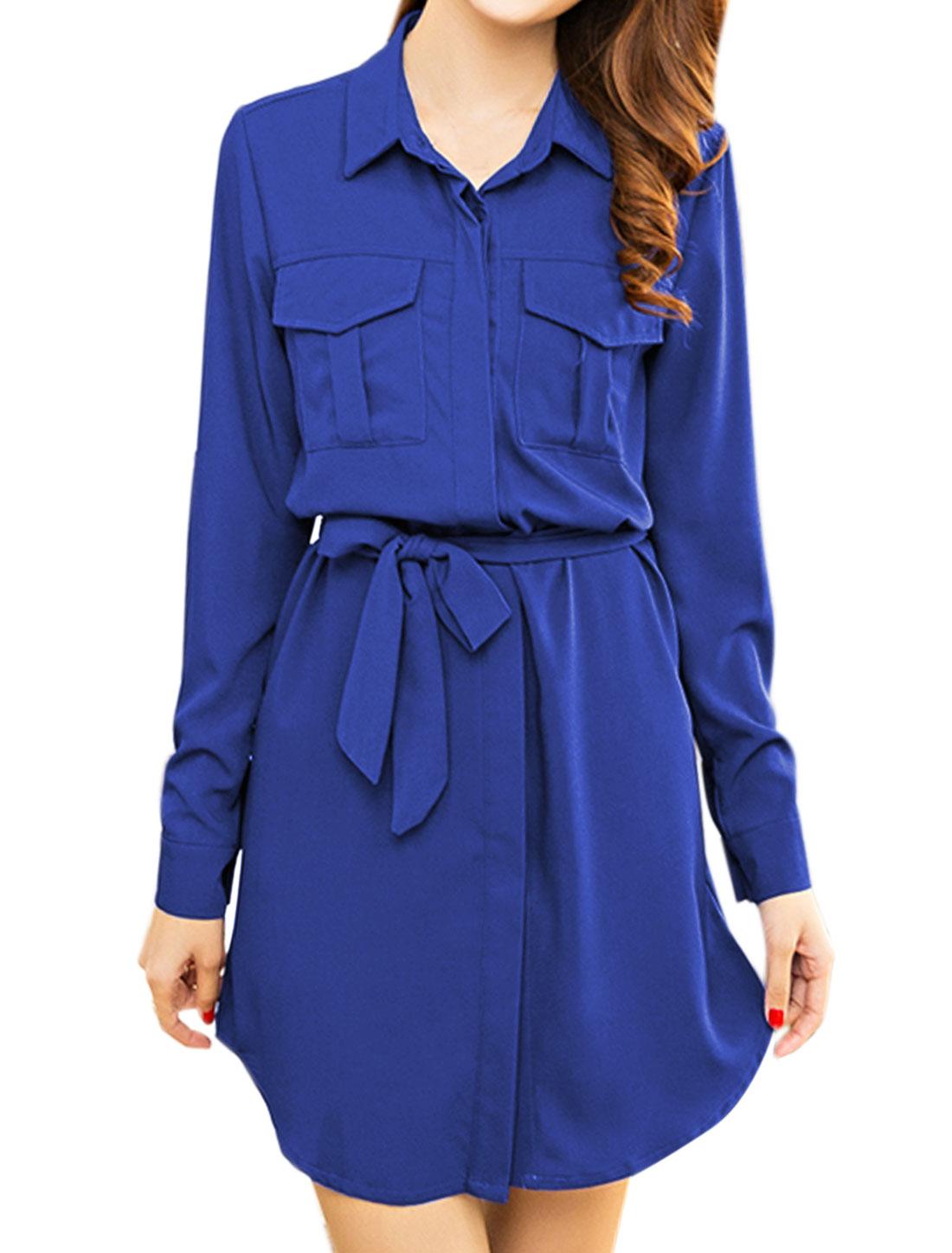 Woman Roll Up Sleeves Tunic Shirt Dress w Waist String Blue M