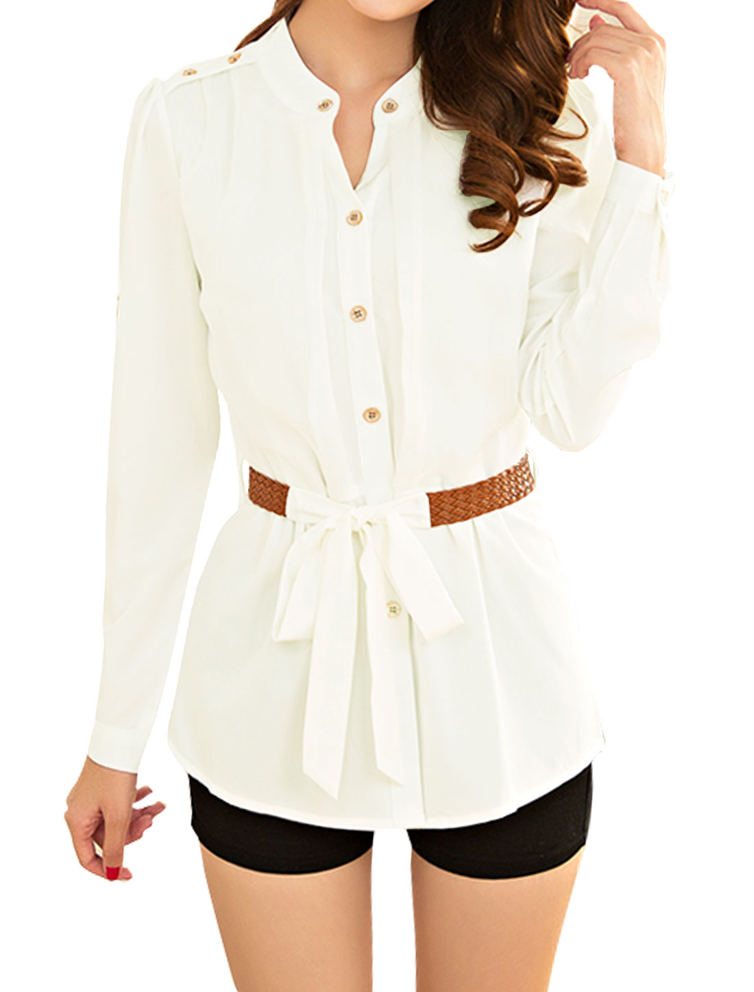 Woman Stand Collar Long Sleeves Chiffon Tunic Shirt w Belt White M