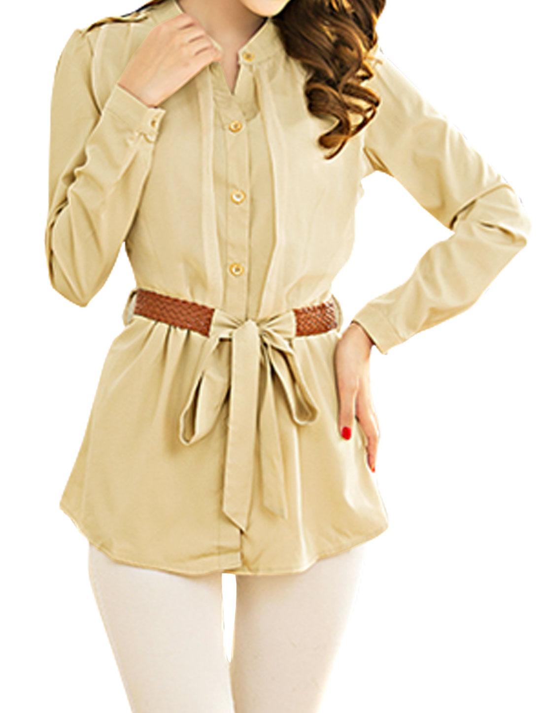 Woman Stand Collar Long Sleeves Chiffon Tunic Shirt w Belt Beige M