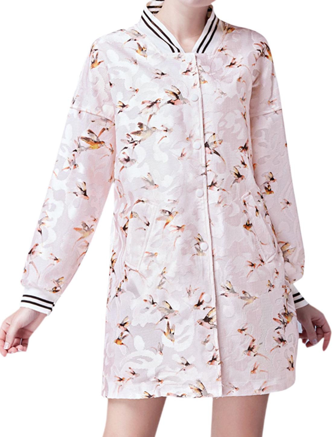 Women Buttoned Varsity Stripes Birds Pattern Tunic Jacket Pink L
