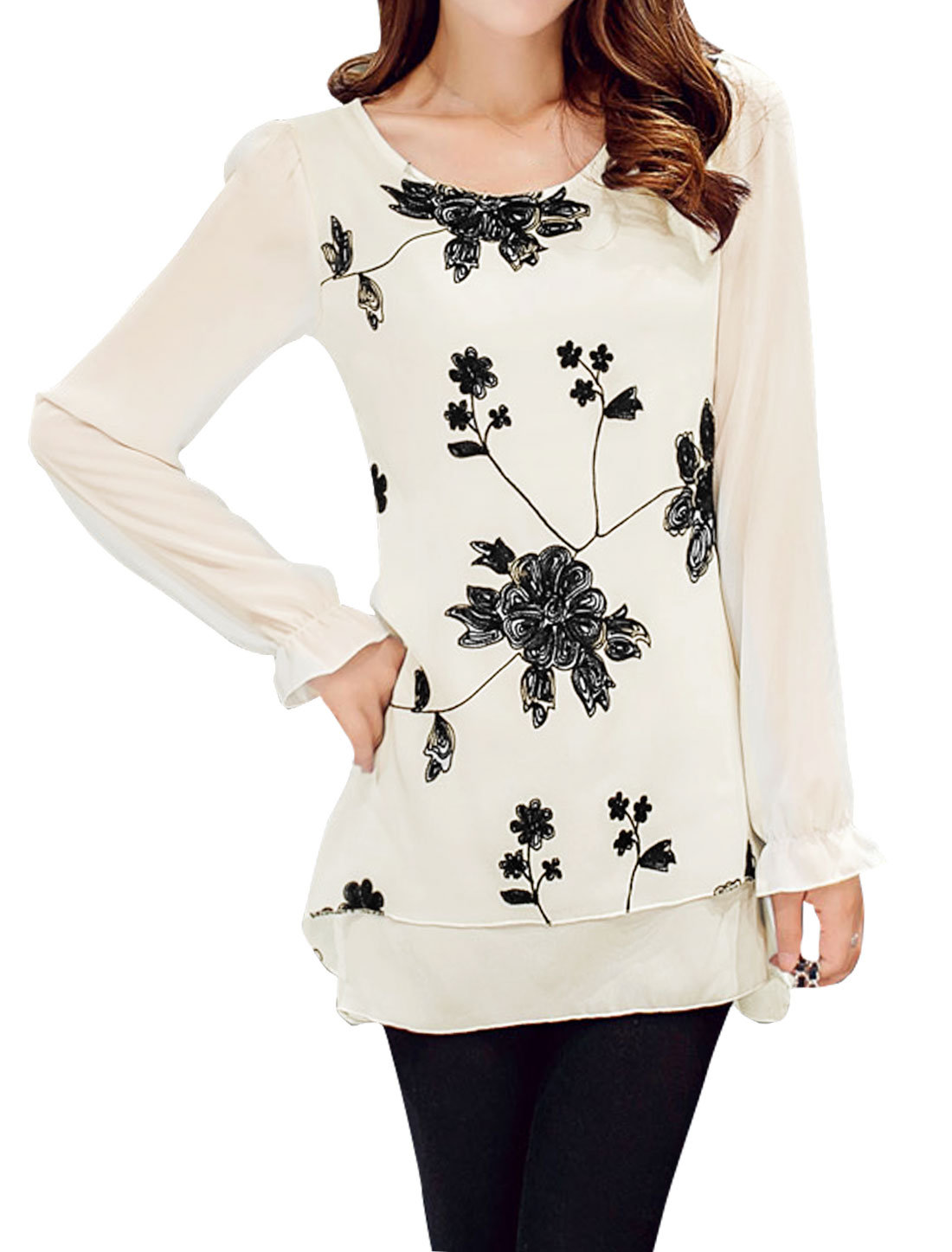 Women Flower Stitched Asymmetric Layered Tunic Blouse White S