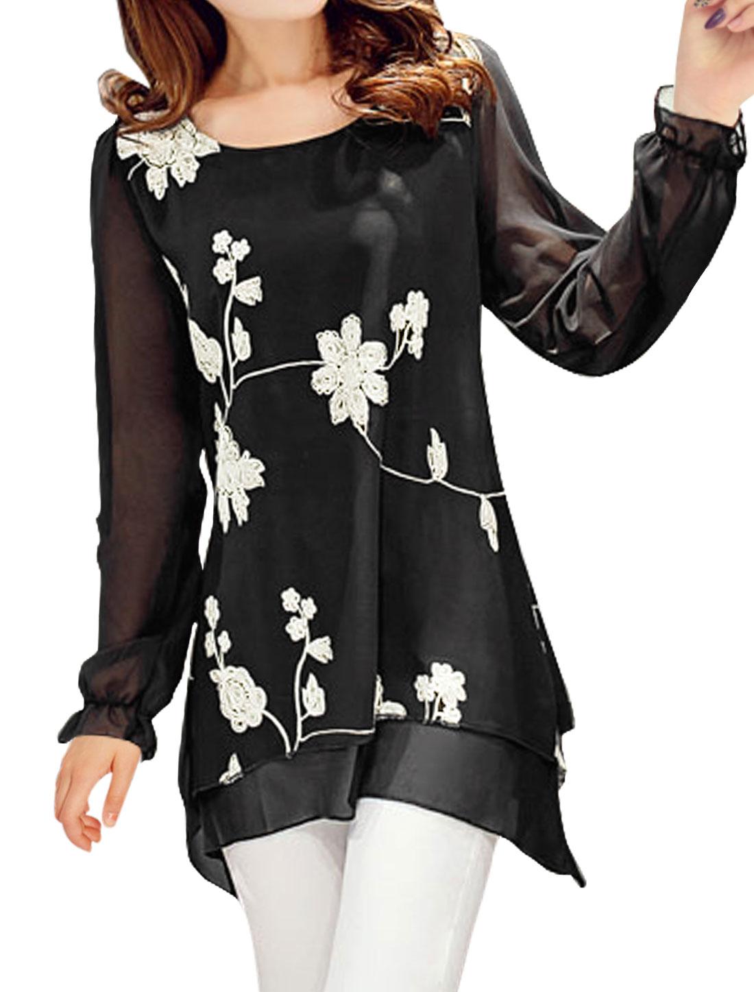 Women Flower Stitched Asymmetric Layered Tunic Blouse Black L