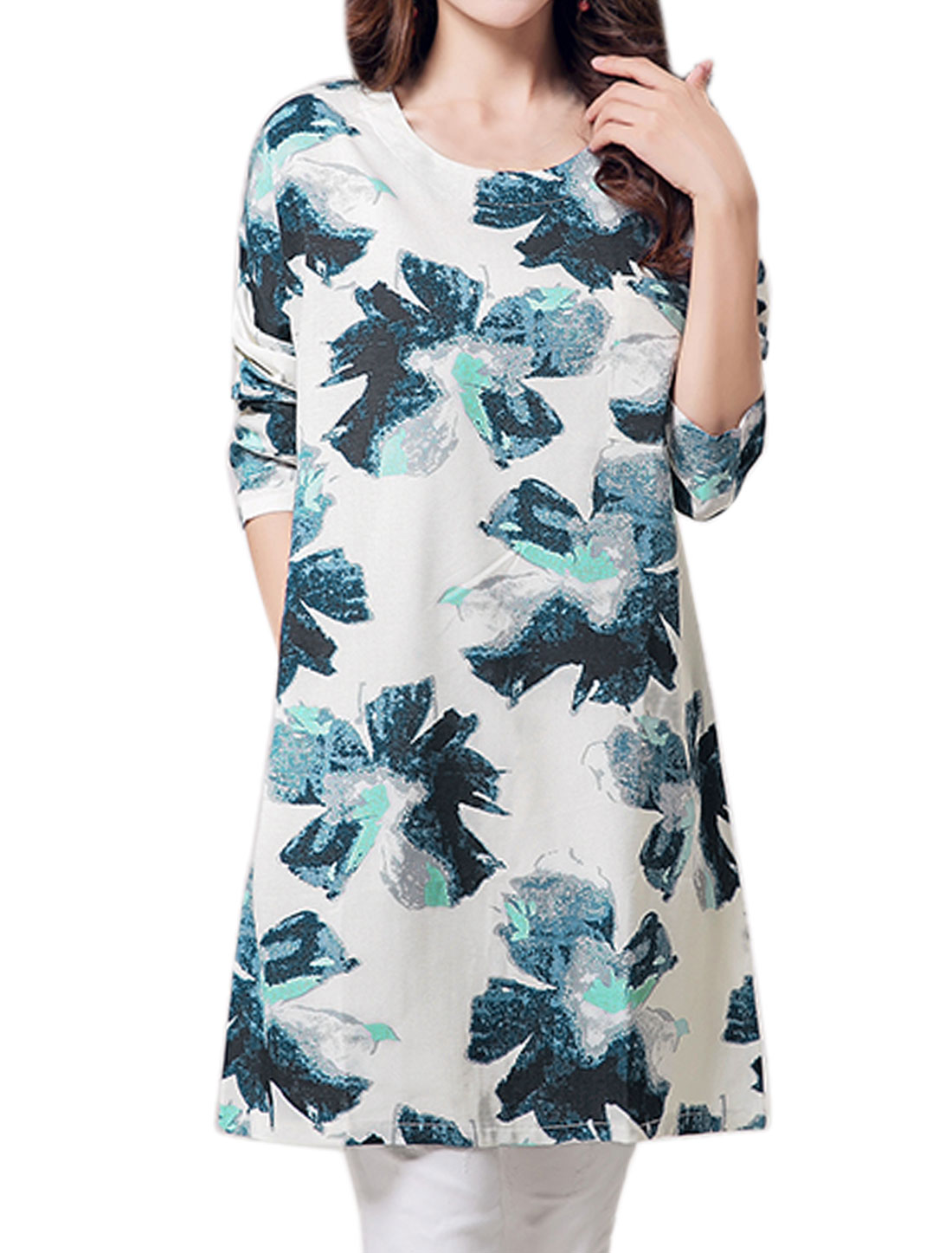 Women Side Pockets Round Neck Floral Tunic Dress Blue M