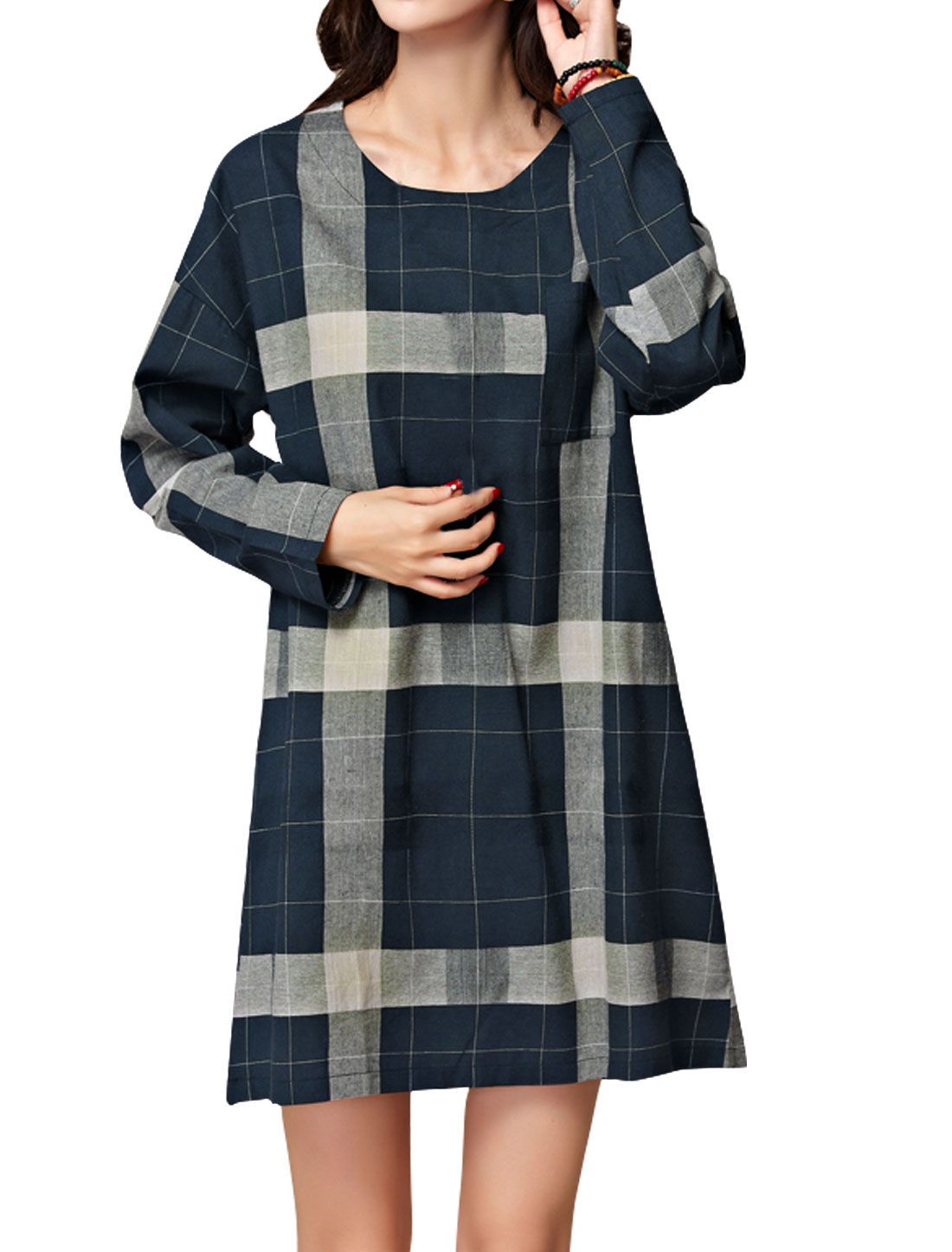 Women Round Neck Chest Pocket Plaids Tunic Dress Blue S