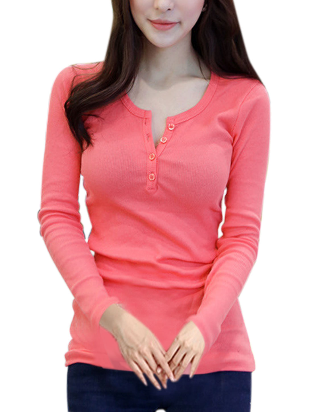 Women Half Placket Long Sleeves Ribbed Slim Fit Top Pink XS