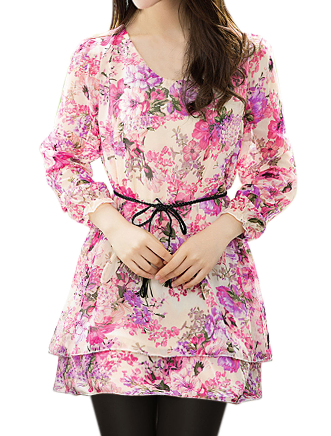 Women Scoop Neck Layered Tunic Floral Top w Waist String Pink S