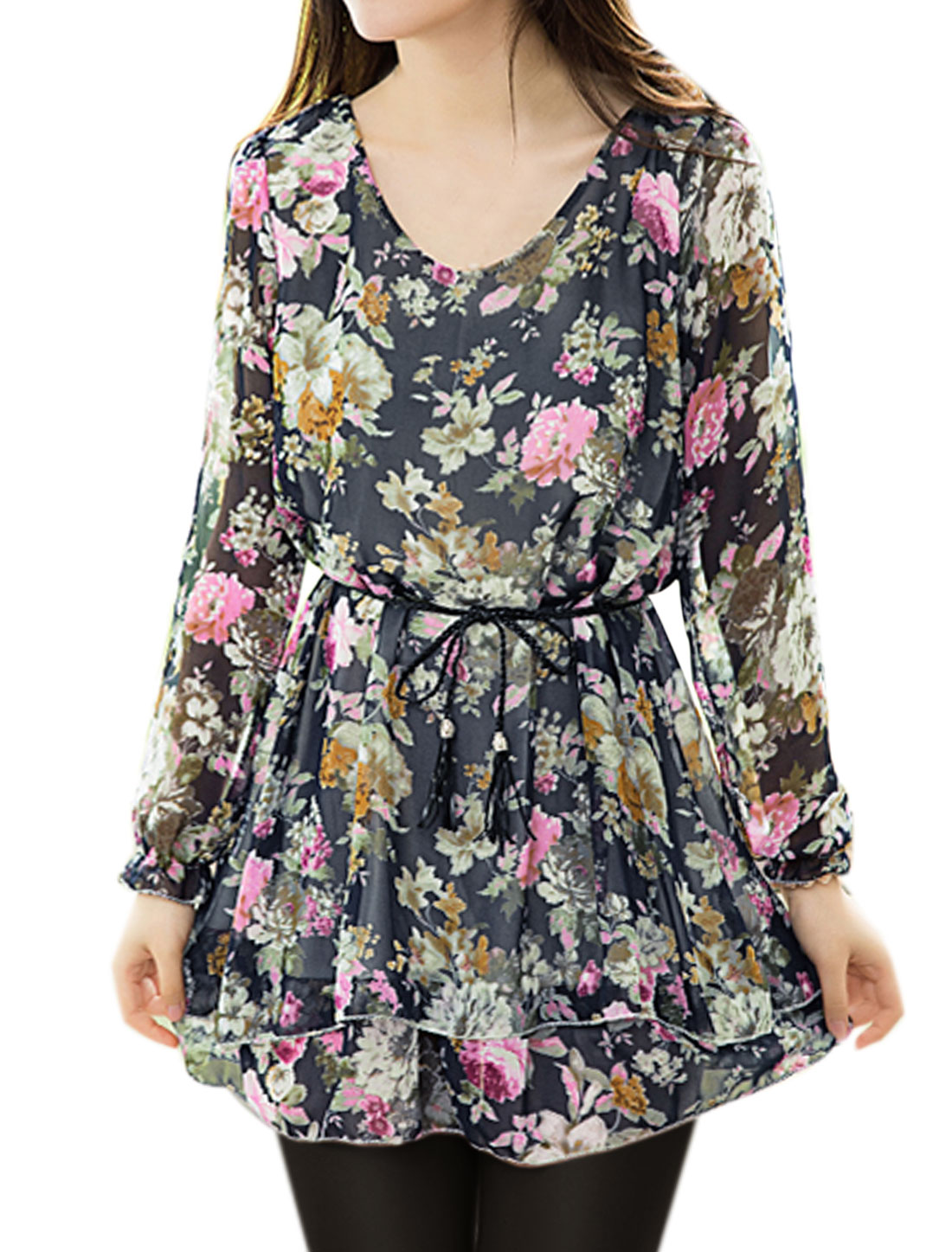 Women Scoop Neck Layered Tunic Floral Top w Waist String Blue S
