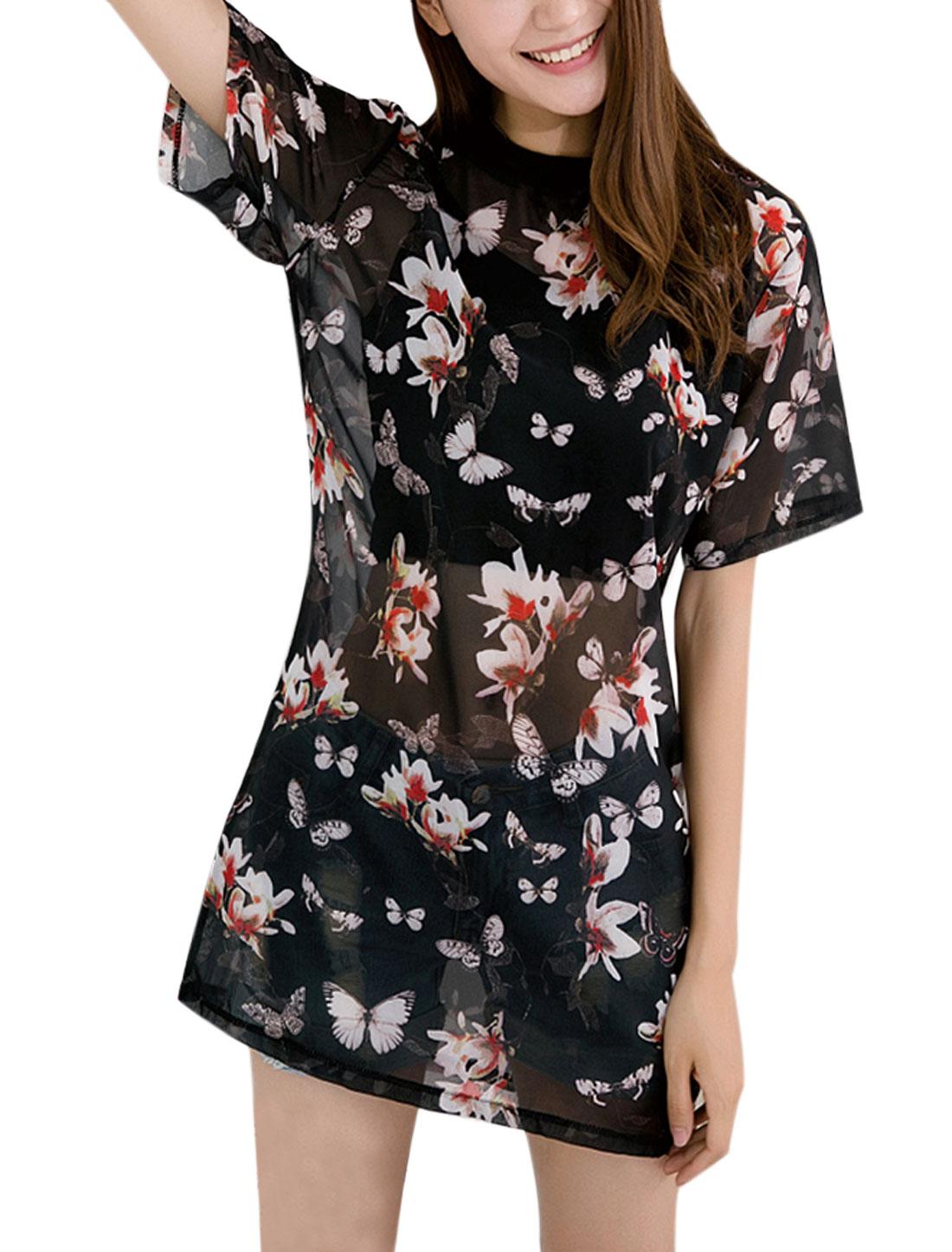 Women Crew Neck Semi Sheer Butterfly Floral Tunic Chiffon Top Black XS