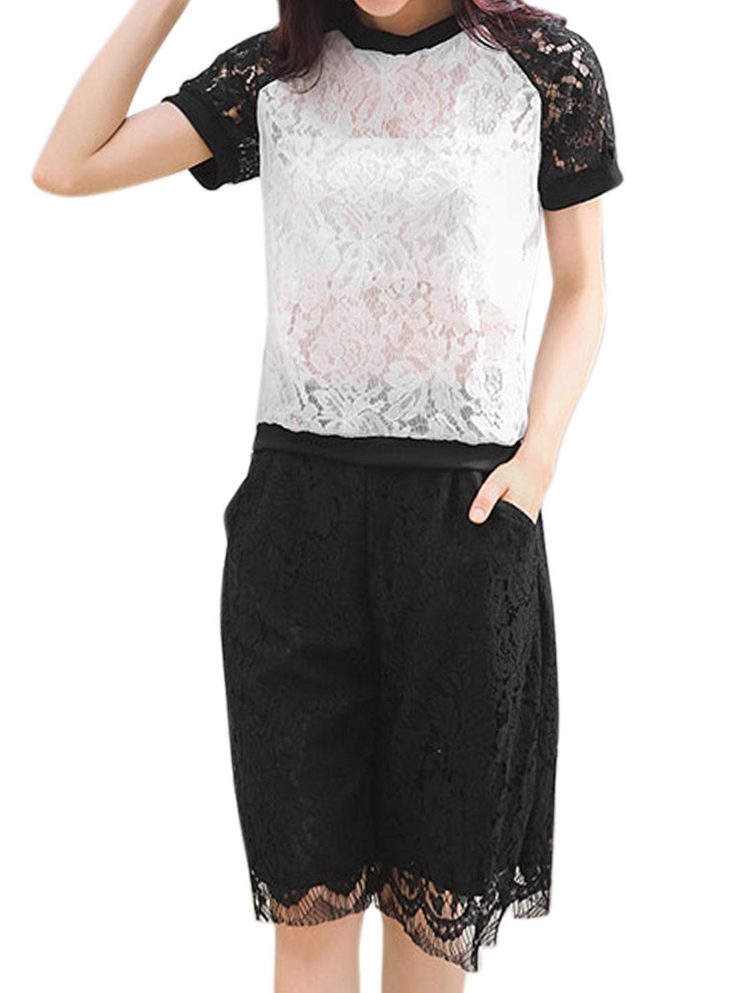Women Organza Overlay Semi Sheer Tee w Wide Leg Lace Shorts Sets White M