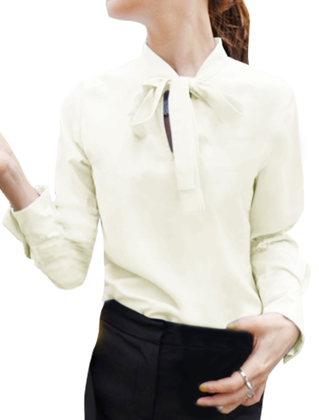 Women Tie Neck Long Sleeves Casual Blouse White S