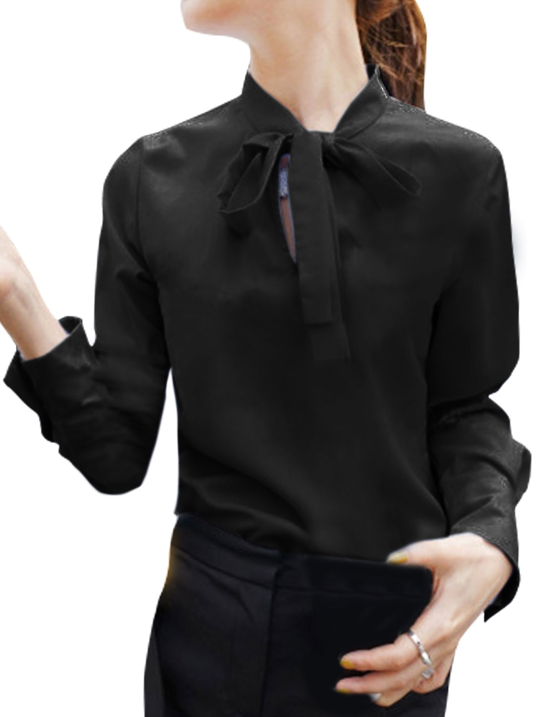 Women Tie Neck Long Sleeves Casual Blouse Black S