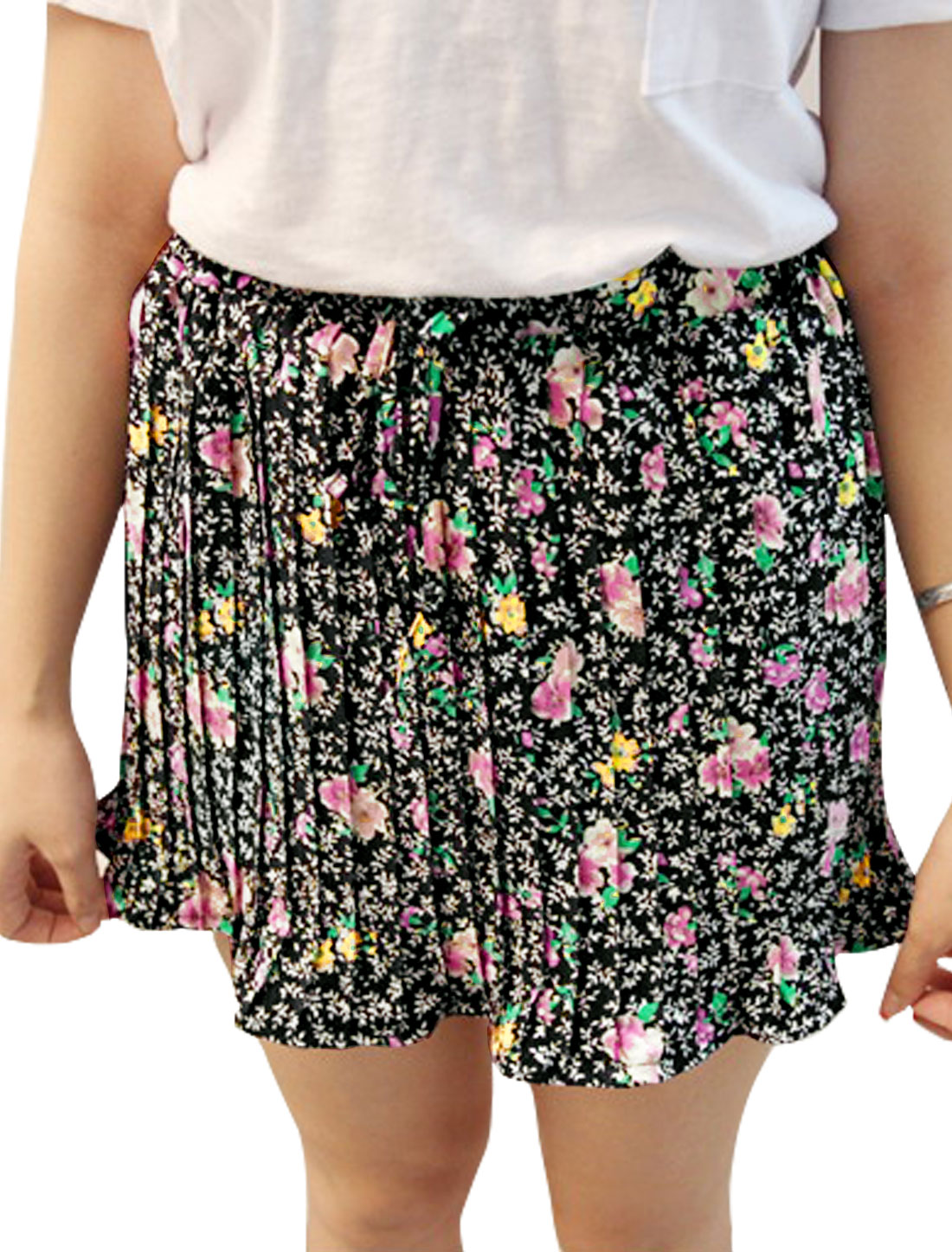 Women Drawstring Waist Floral Mini Pleated Skirt Black XS