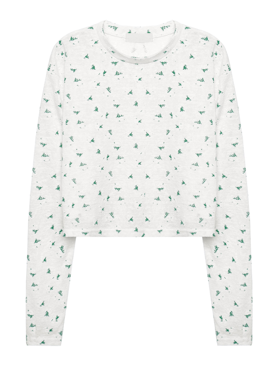 Woman Crew Neck Long Sleeves Floral Dots Crop Top White XS