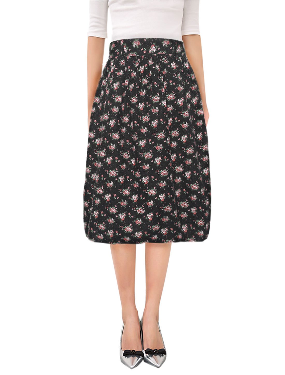Woman High Waisted Floral Prints Flared Midi Skirt Black S