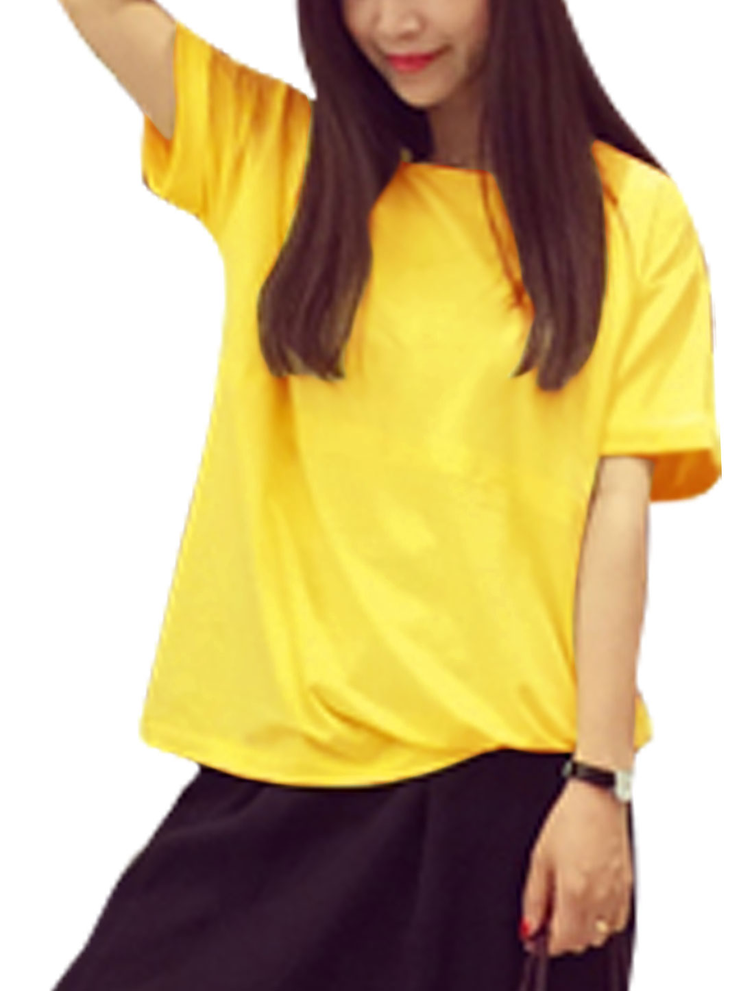 Woman Round Neck Cuffed Short Dolman Sleeves Loose Top Yellow XS