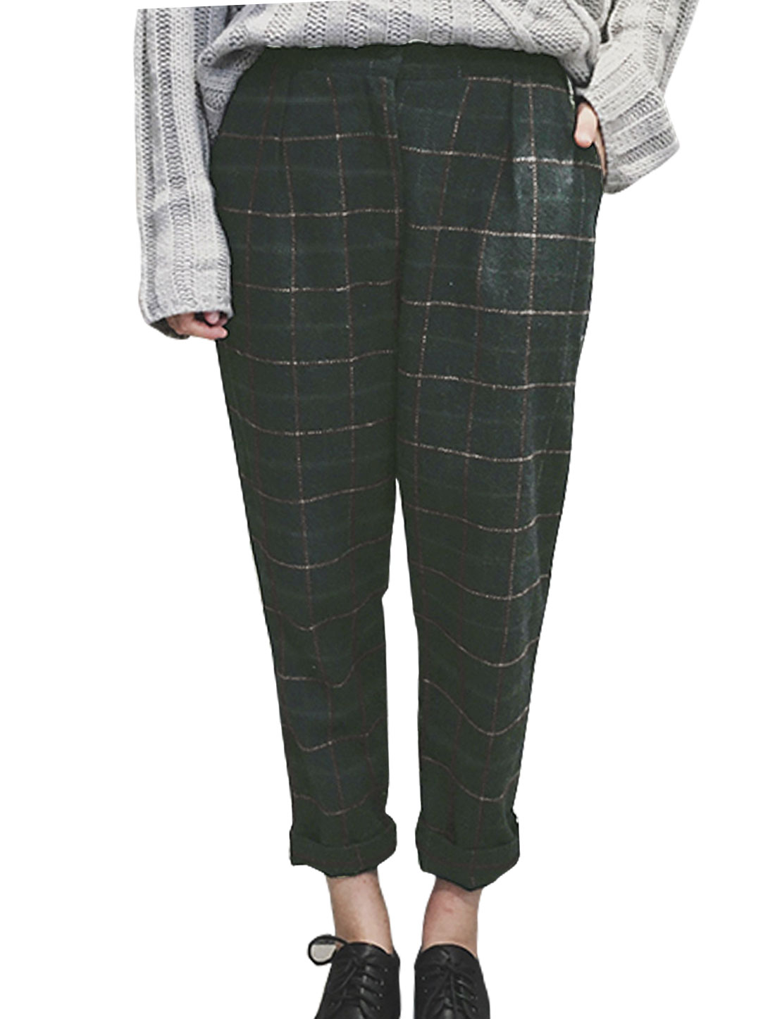 Women Mid Rise Wide Leg Worsted Plaids Cropped Pants Gray XS