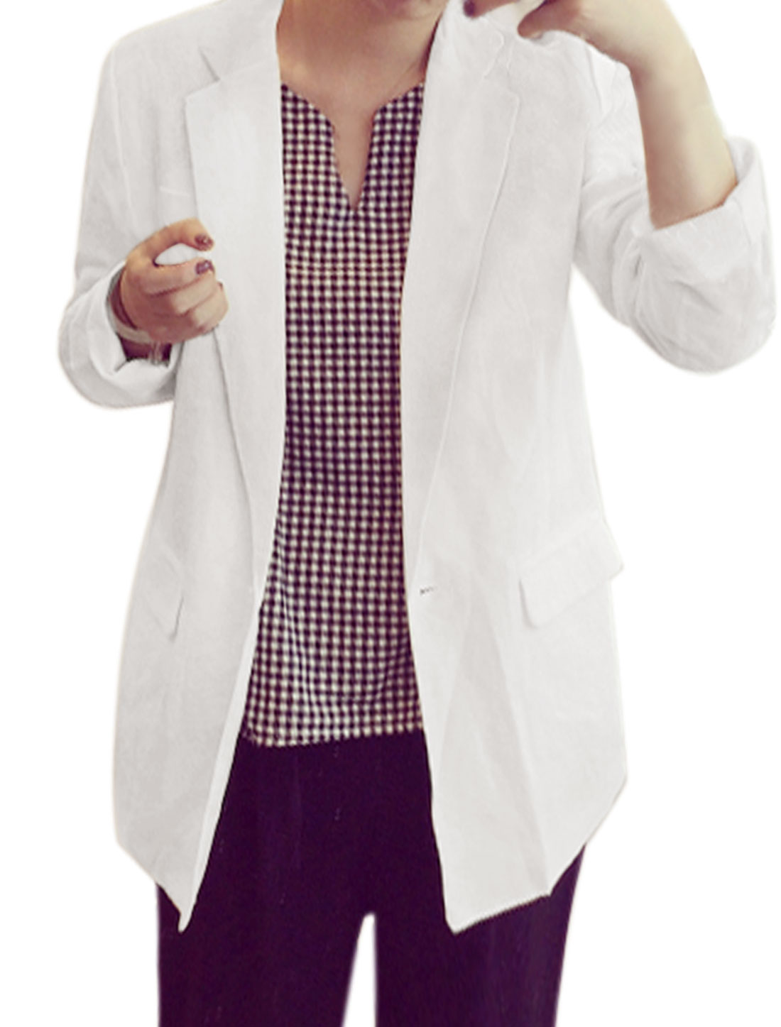 Woman Notched Lapel One Button Closed Tunic Blazer White S