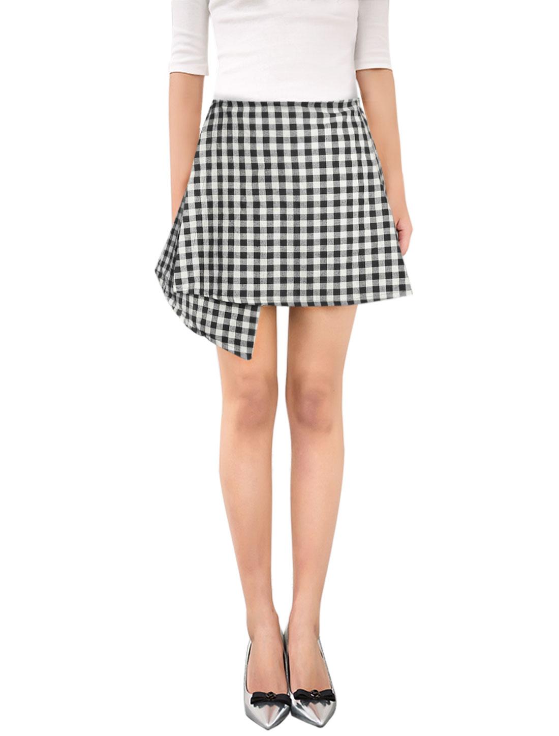 Woman High Waist Plaids Layered Asymmetric Hem Skirt Black M