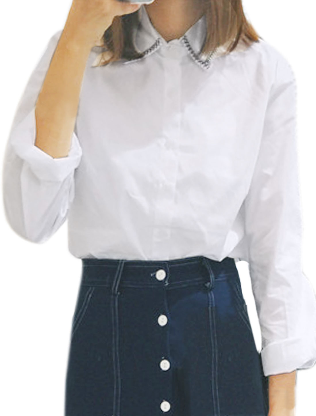 Women Stitching Point Collar Single Breasted Shirt White S