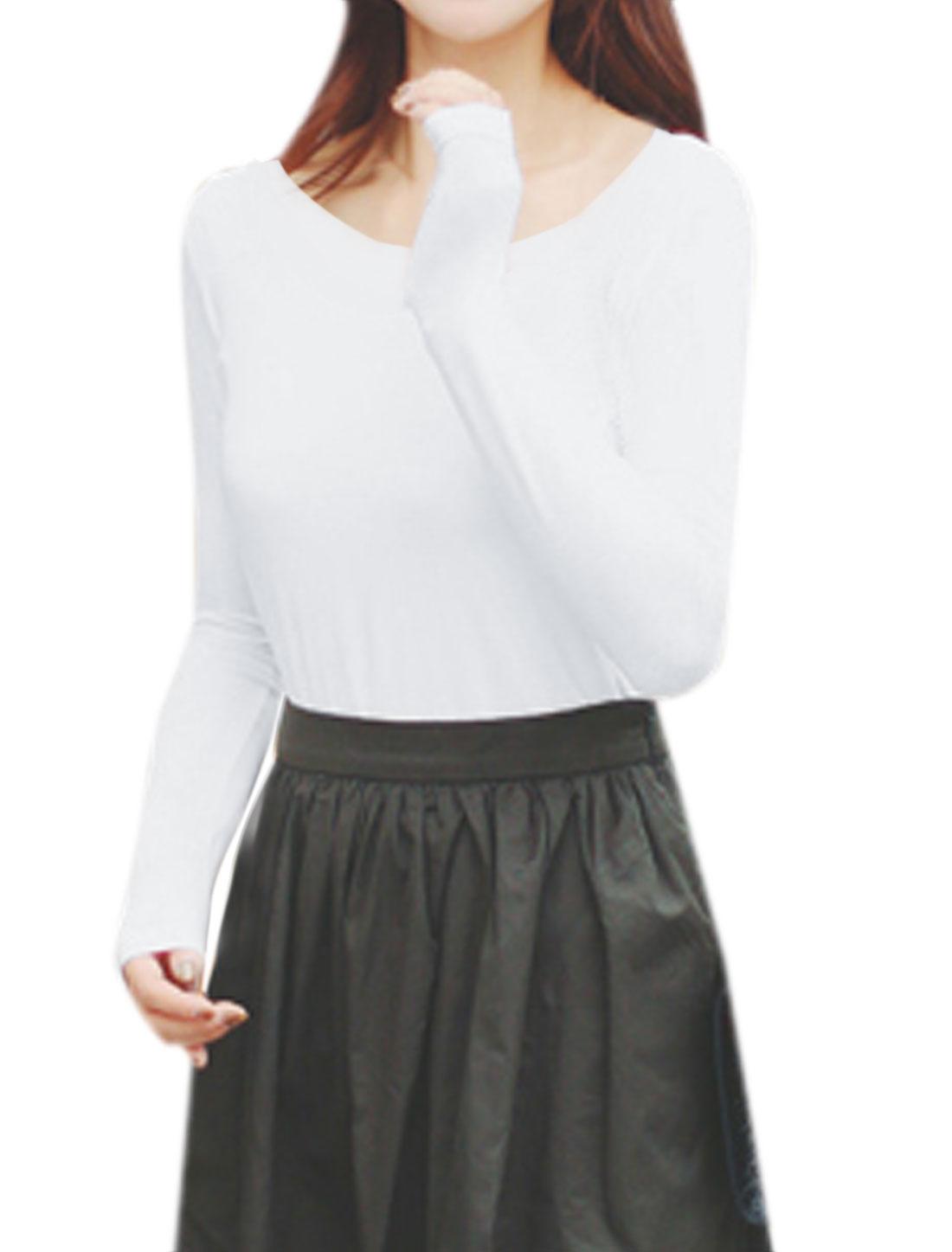 Woman Scoop Neck Long Sleeves Slim Fit Tee Shirt White XS