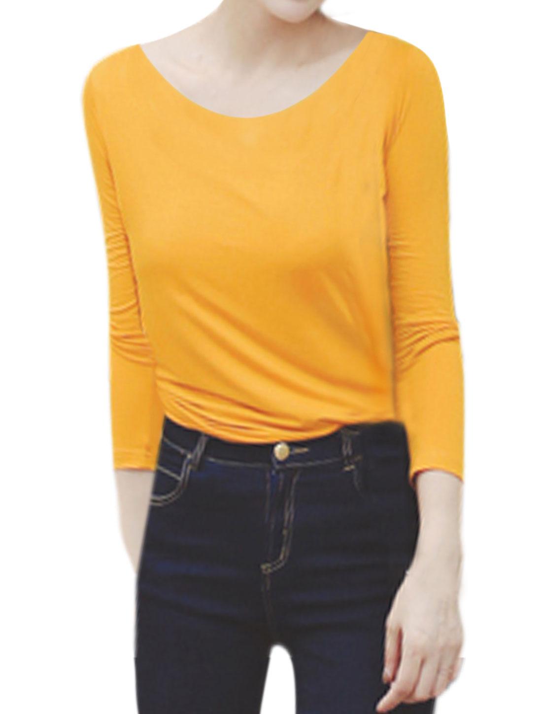 Woman Scoop Neck Long Sleeves Slim Fit Tee Shirt Yellow XS