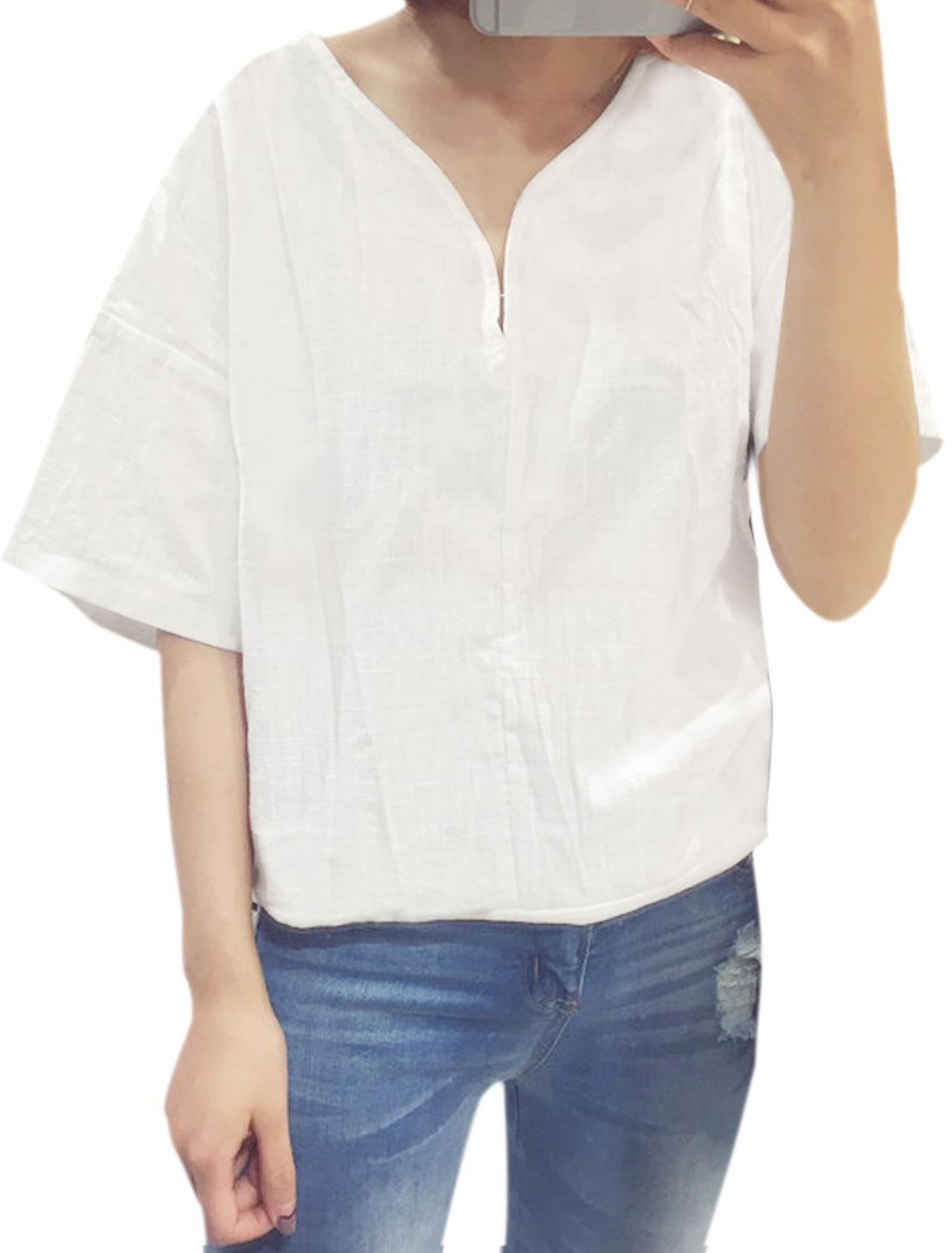 Woman Split Neck 1/2 Dolman Sleeves Loose Top White XS