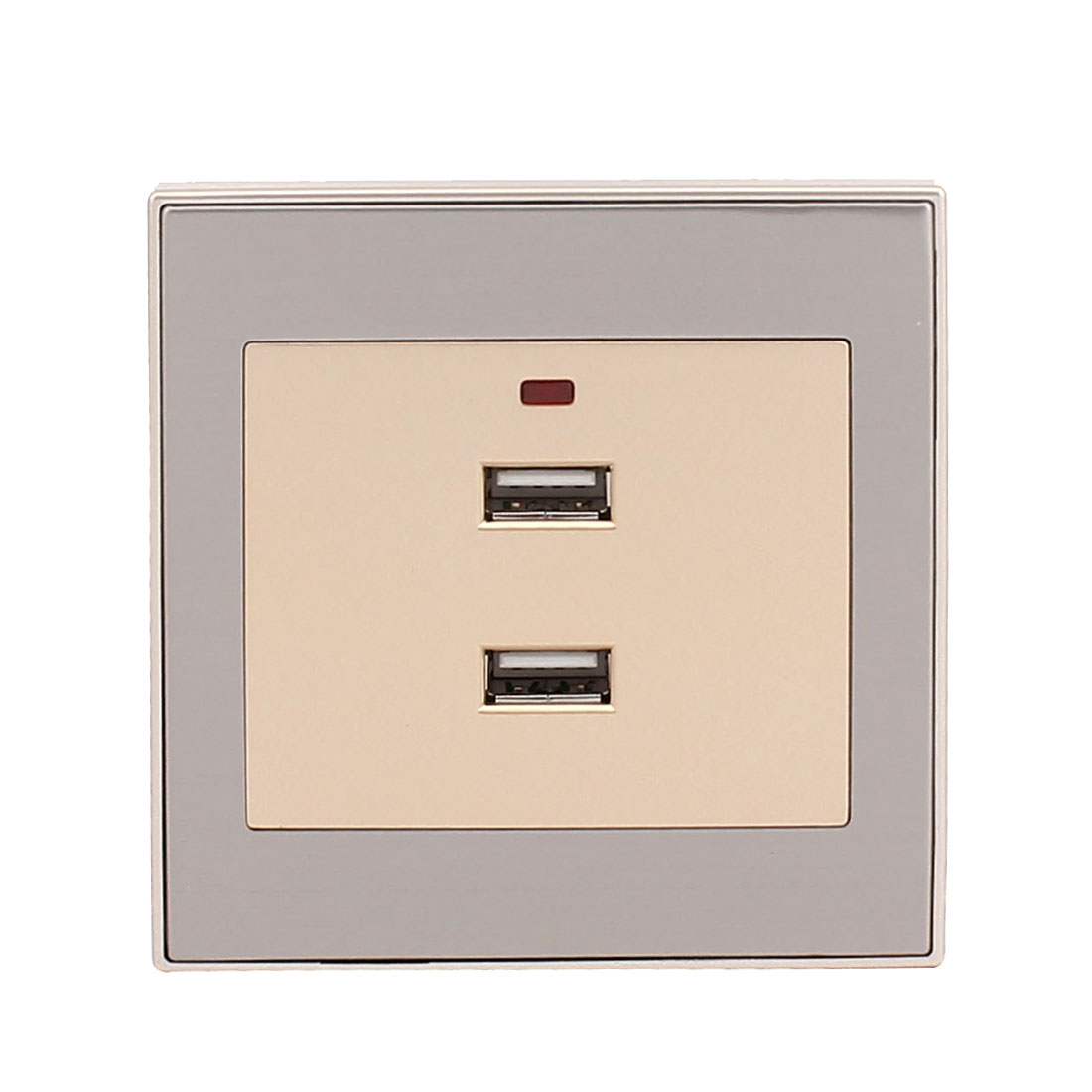 AC 220V-250V 2 USB Ports Charger DC 5V 2100mA Red Lamp Power Source Wall Plate