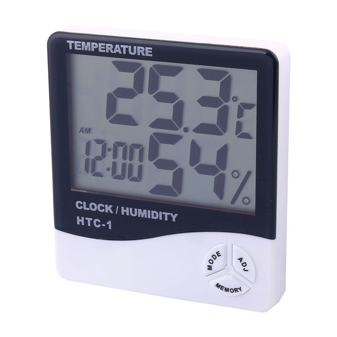 Plastic Indoor Outdoor LCD Digital Thermometer Humidity Hygrometer Clock