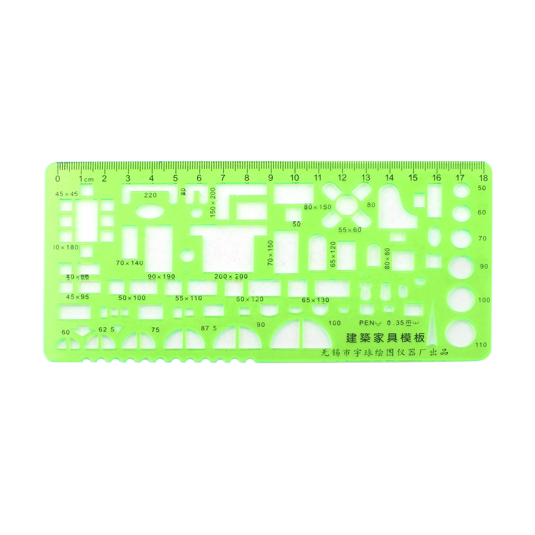 Drafting Drawing Stationery Plastic 18cm Metric Edge Template Ruler Clear Green