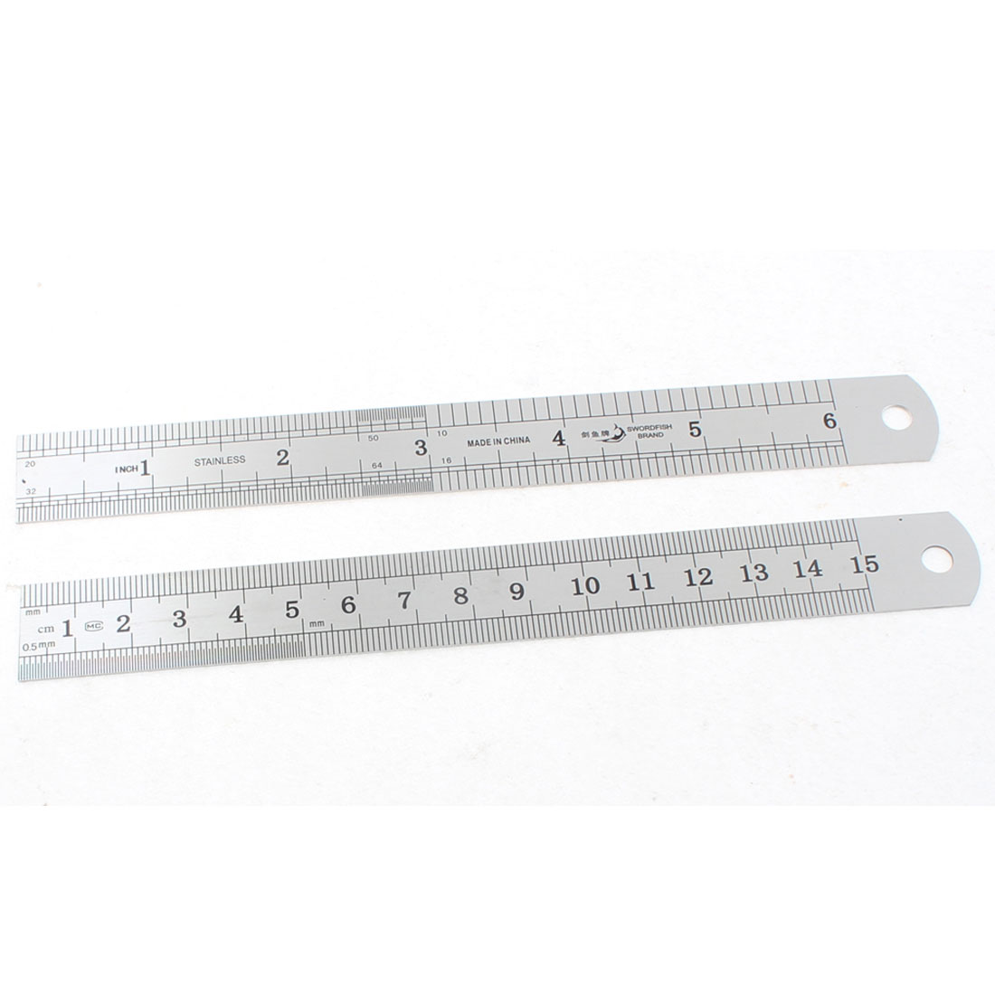 Dual Side Stainless Steel Straight Edge Ruler Measuring Tool 15cm 6 Inch 2pcs