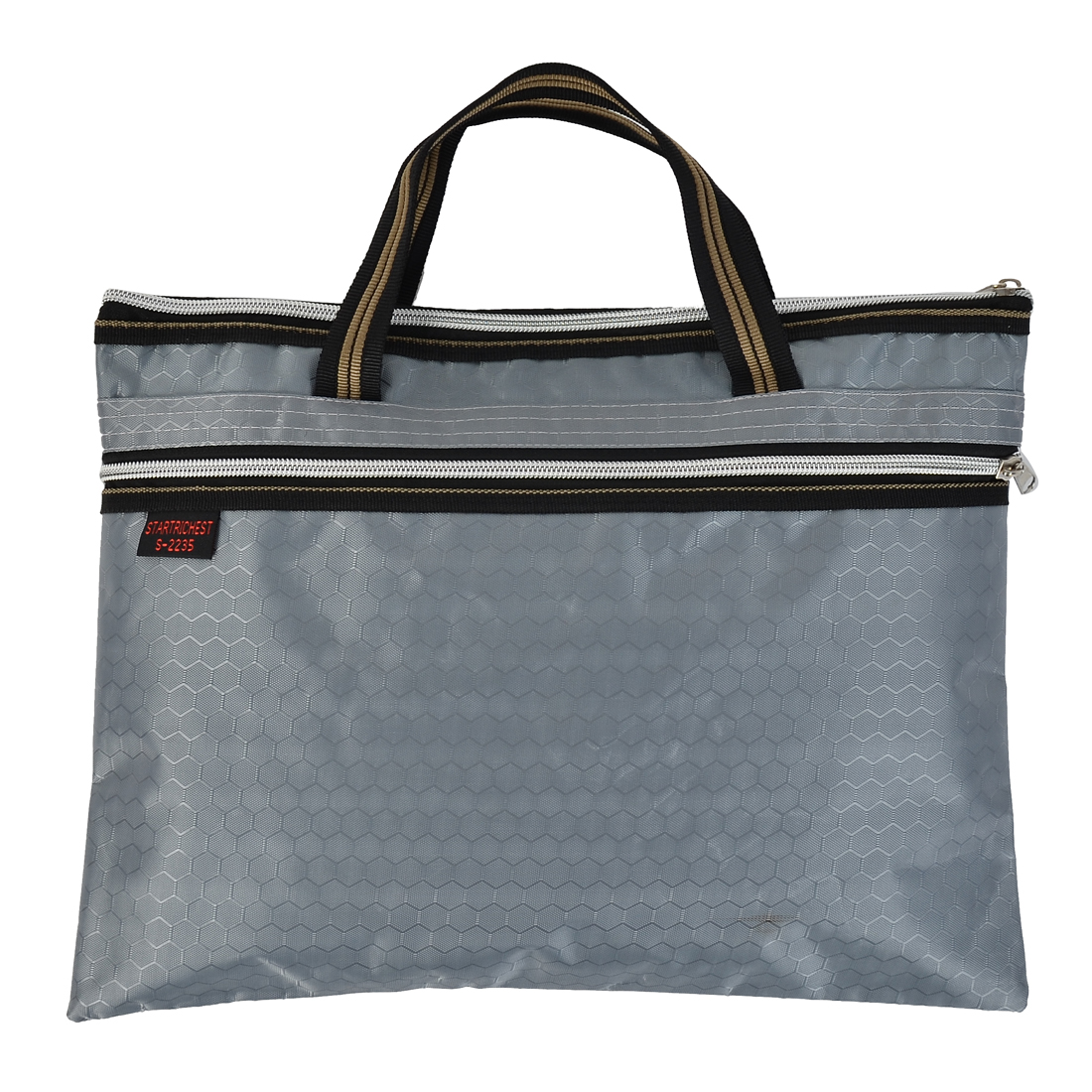 Document File Nylon Hexagon Pattern A4 Zip Up Hand Bag Tote Organizer Gray